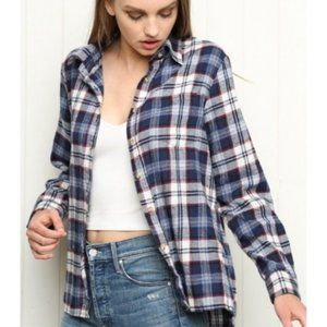 Brandy Melville Plaid Wylie Flannel Button Up Top